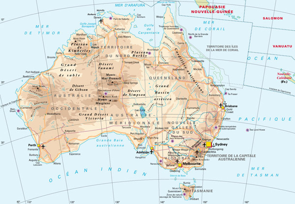 Detailed map of Australia with highways, cities and airports.
