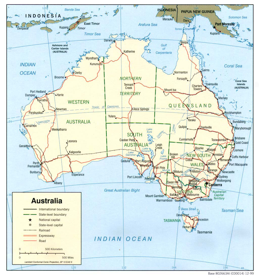 Detailed political and administrative map of Australia with roads Vidiani c