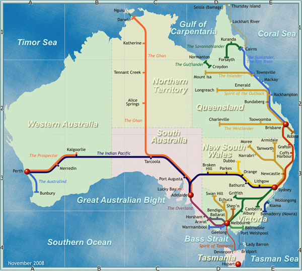 Detailed railways map of Australia. Australia detailed railways map.