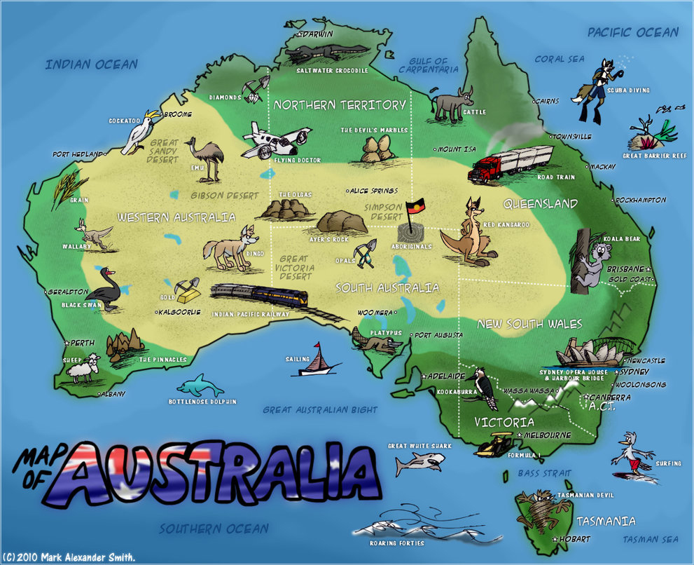 Detailed travel map of australia australia detailed travel map