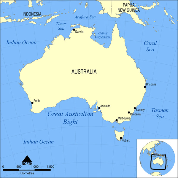 Full political map of Australia. Australia full political map.