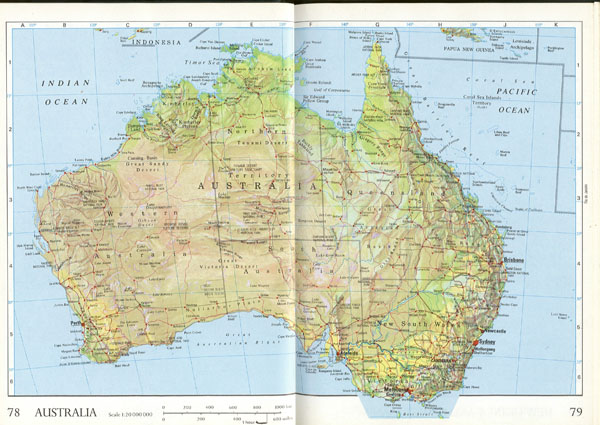 Large detailed relief and administrative map of Australia with roads and cities.