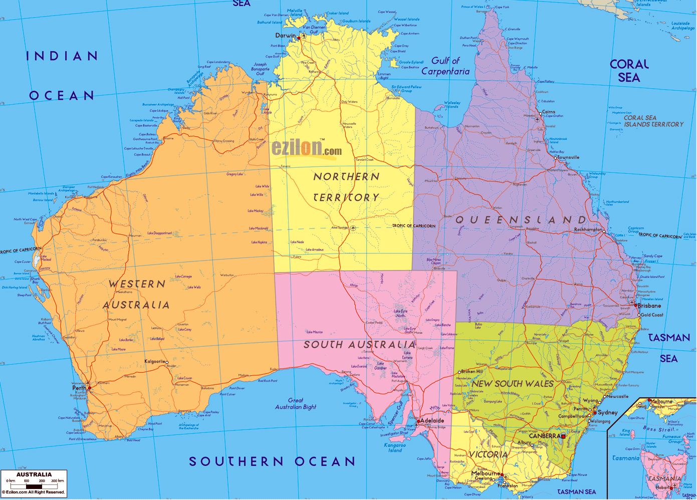 Map of australia australia large detailed administrative map
