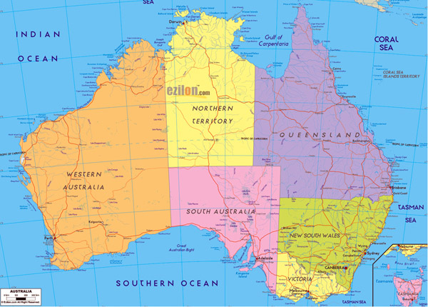 Large detailed administrative map of Australia. Australia large detailed administrative map.