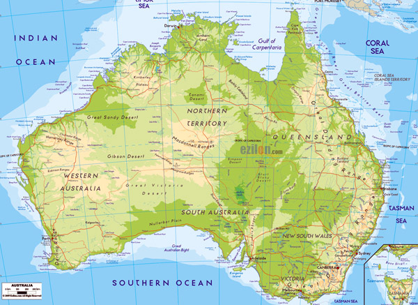 Large detailed physical map of Australia. Australia large detailed physical map.