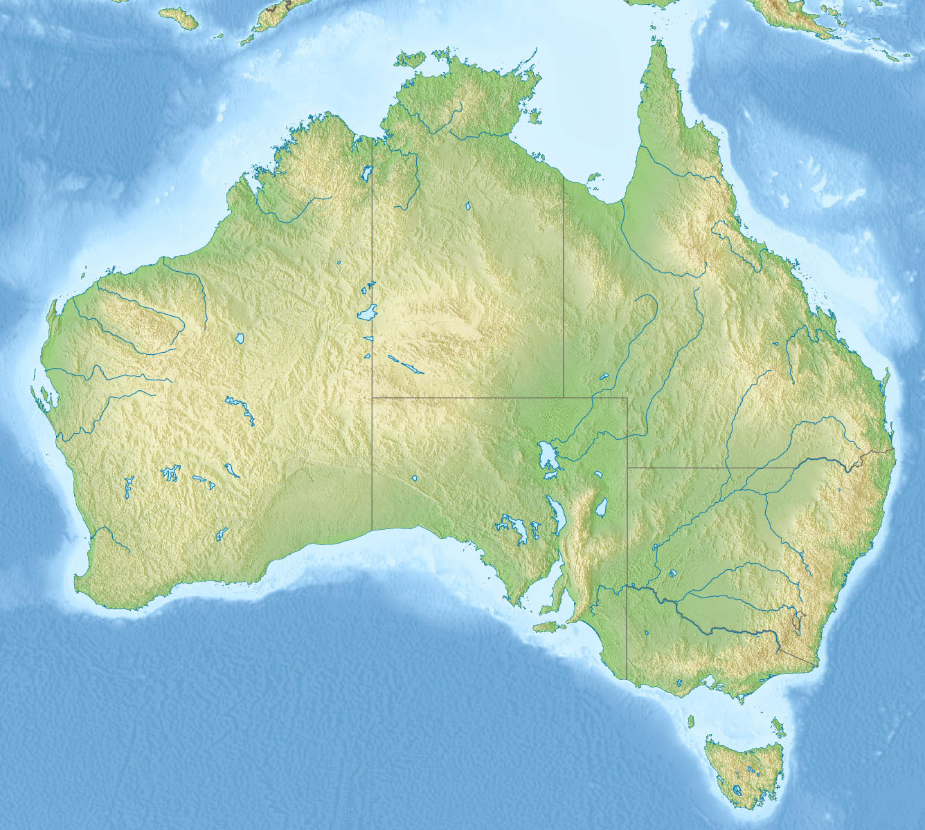 Detailed relief map of australia australia large detailed relief map