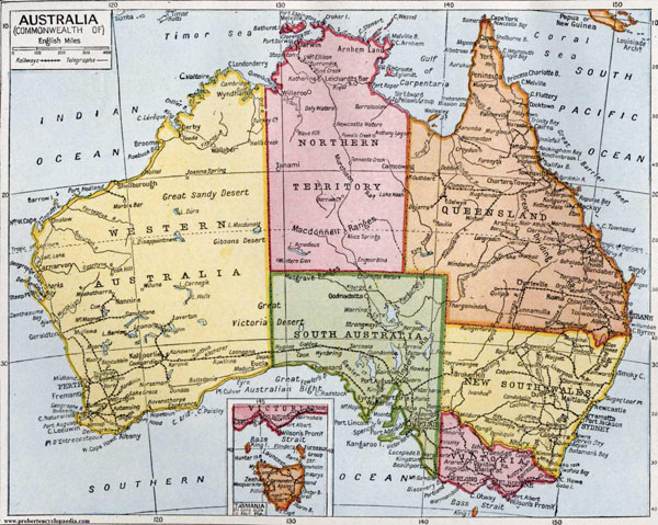 Large detailed road and administrative old map of Australia 1922.