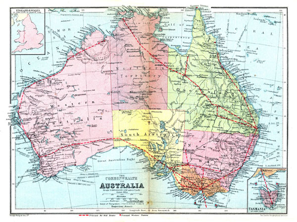 Large detailed road and administrative old map of Australia 1936.