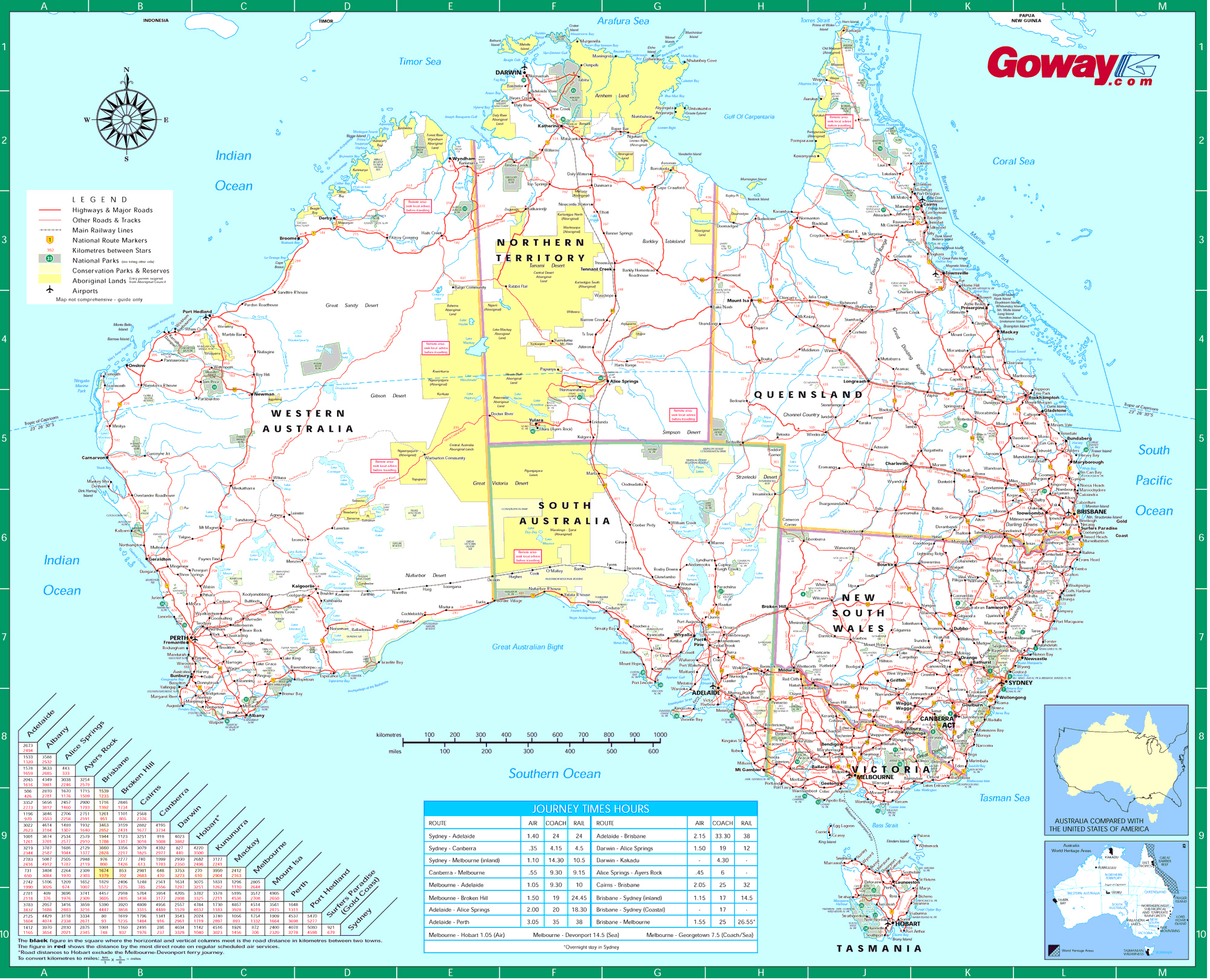 Large detailed road map of Australia Australia large detailed road
