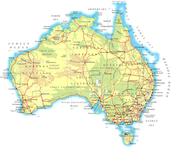 Large physical map of Australia with roads and cities.