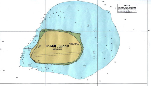 Large detailed topographical map of Baker Island.