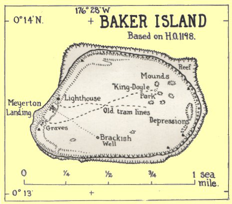 Old map of Baker Island. Baker Island old map.