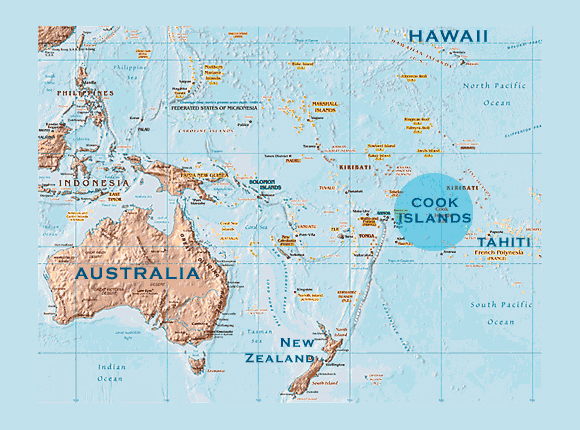 Cook Islands location map. Location map of Cook Islands.