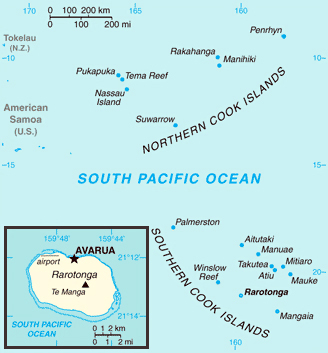 Detailed political map of Cook Islands. Cook Islands detailed political map.