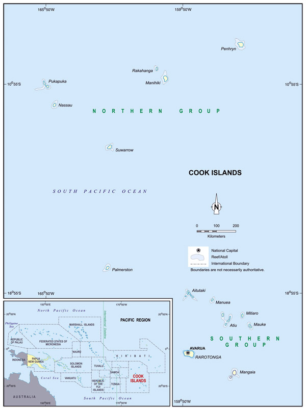Full political map of Cook Islands. Cook Islands full political map.