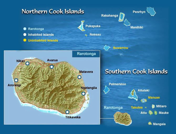 Map of Cook Islands. Cook Islands map.