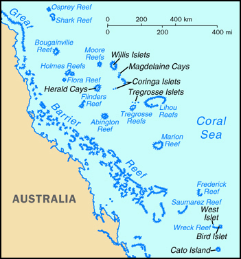 Coral Sea Islands map. Map of Coral Sea Islands.