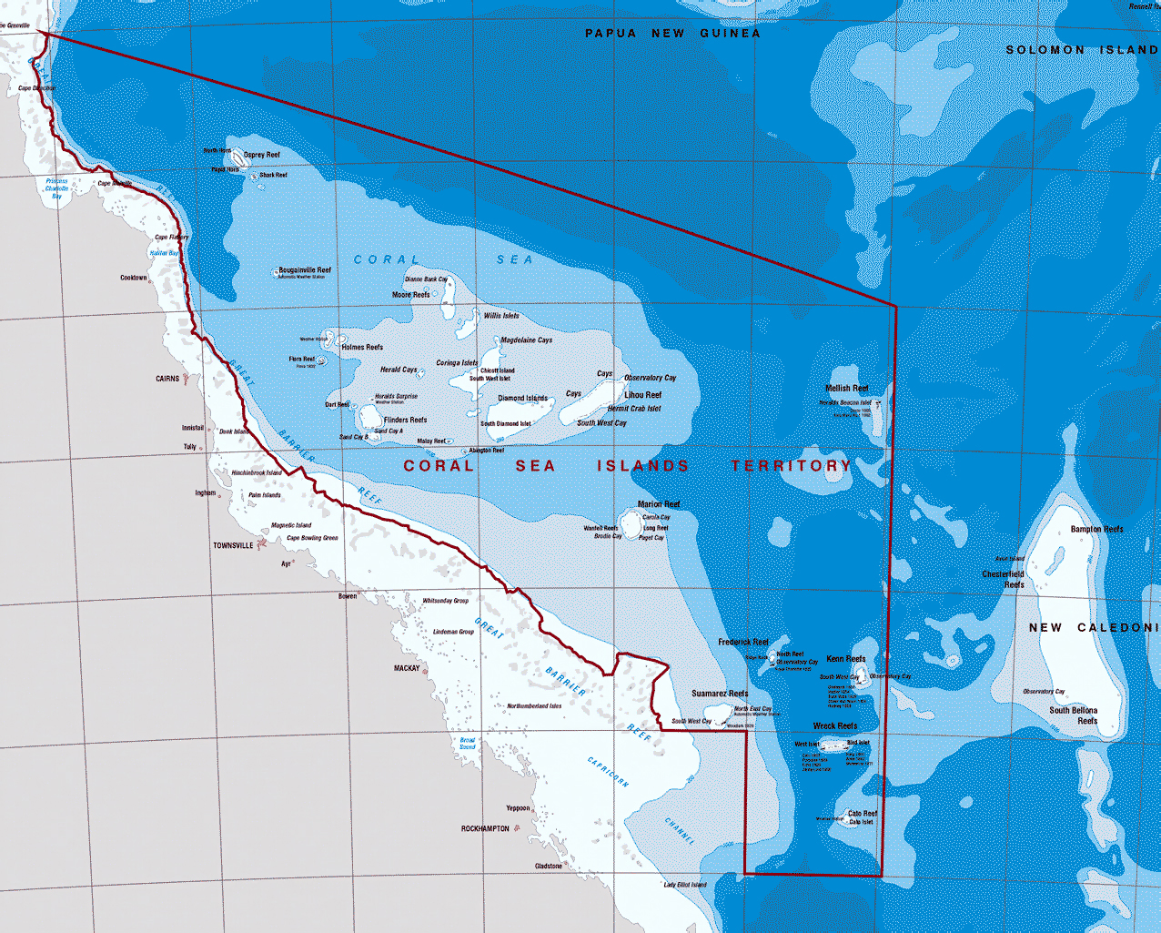 Detailed Topographical Map Of Coral Sea Islands Coral Sea Islands