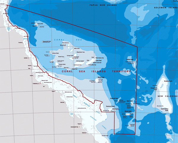 Detailed topographical map of Coral Sea Islands. Coral Sea Islands detailed topographical map.