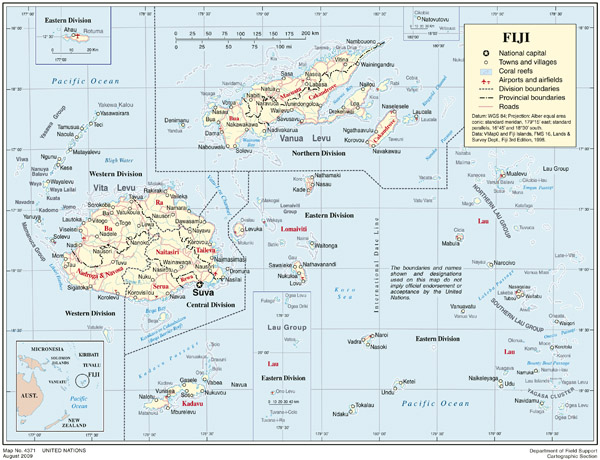 Full political map of Fiji. Fiji full political map.