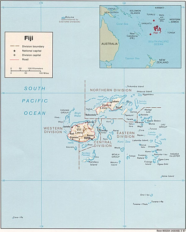 Large detailed political and relief map of Fiji.
