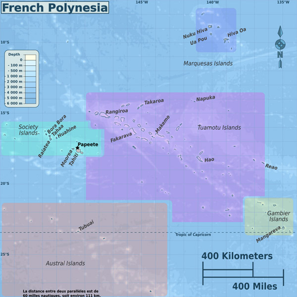 Full political map of French Polynesia. French Polynesia full political map.