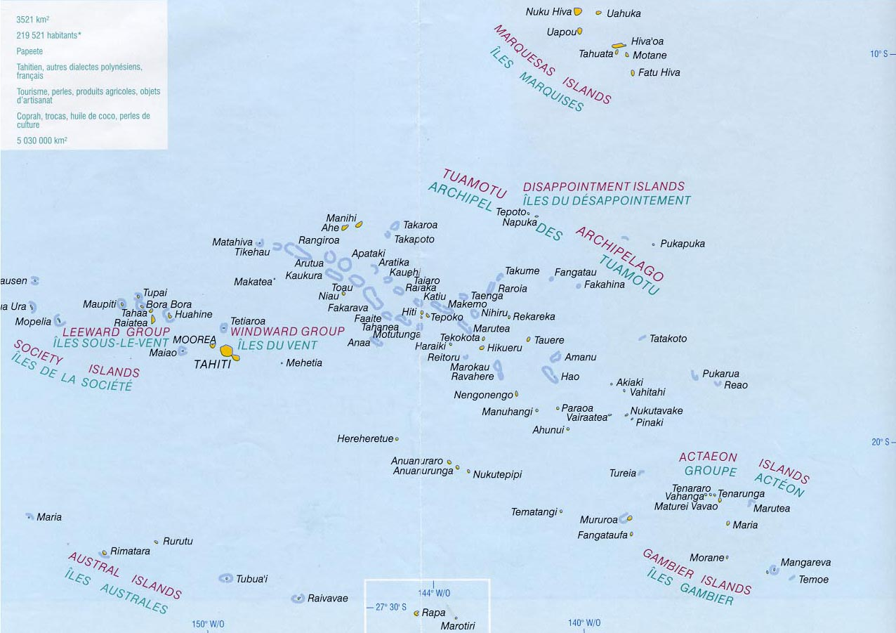 detailed map of French Polynesia French Polynesia large