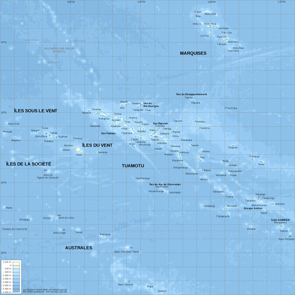 Large detailed physical map of French Polynesia. French Polynesia large detailed physical map.