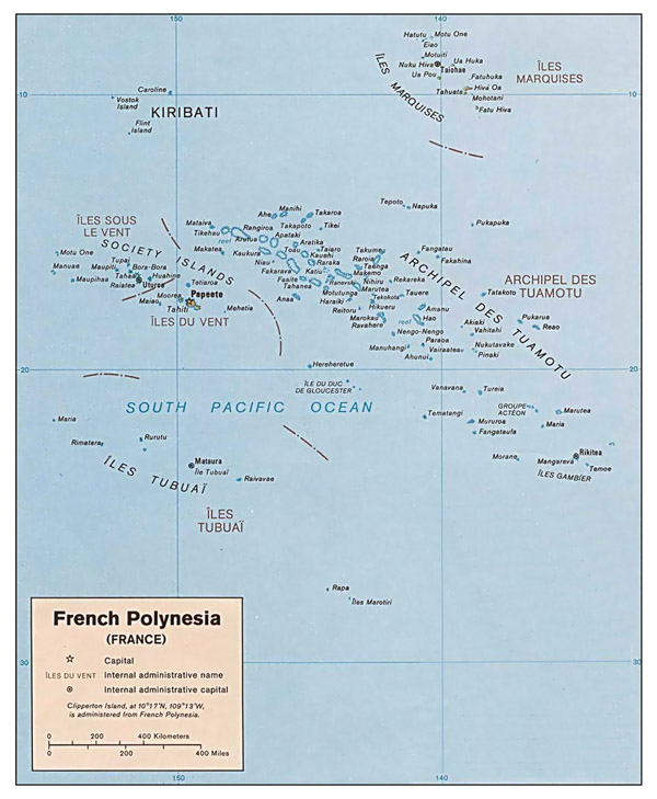 Large detailed political and administrative map of French Polynesia with cities.
