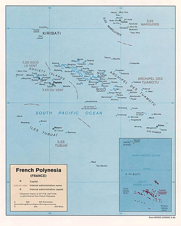 Large detailed political map of French Polynesia. French Polynesia large detailed political map.