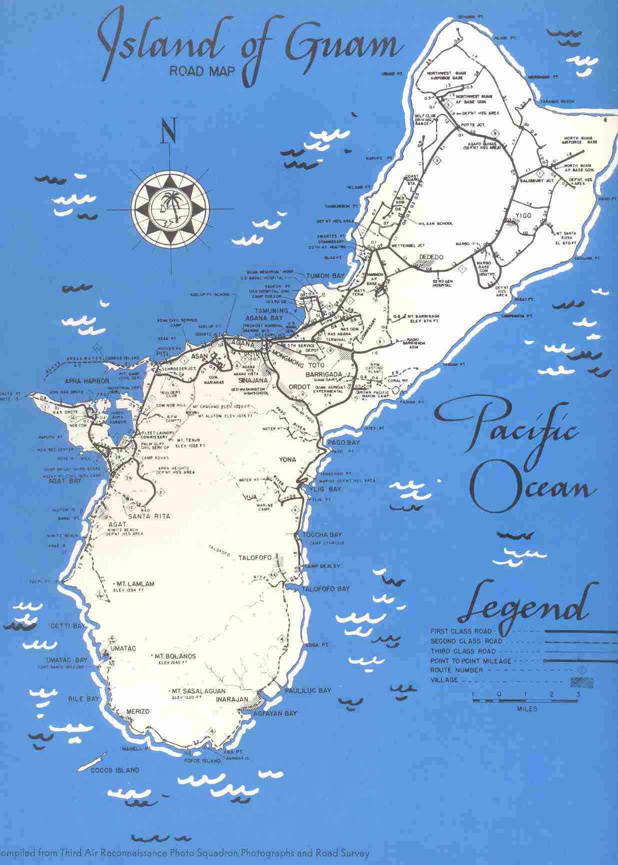 Detailed old road map of Guam 1950. Guam detailed old road ...