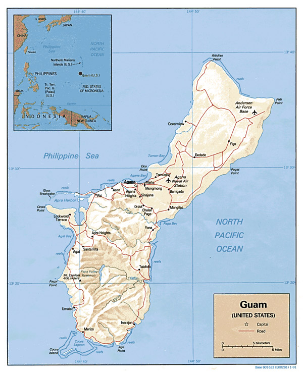 Detailed political and relief map of Guam. Guam detailed political and relief map.