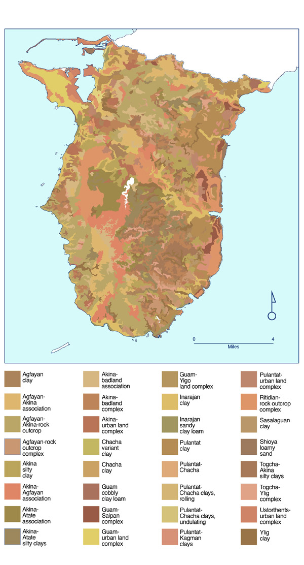 Large detailed soil map of Southern Guam. Southern Guam large detailed soil map.