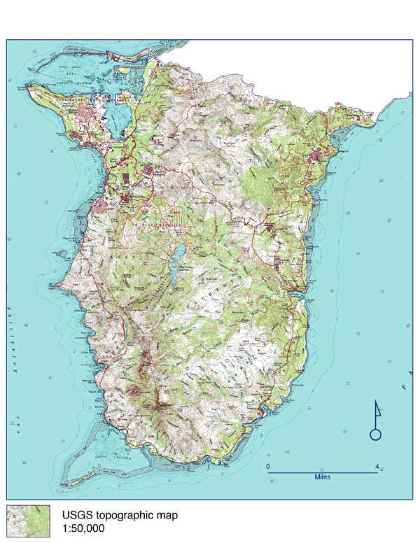 Large detailed topographical map of Southern Guam. Southern Guam large detailed topographical map.