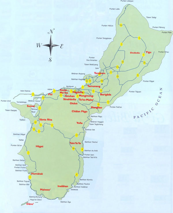 Large detailed tourist map of Guam. Guam large detailed tourist map.