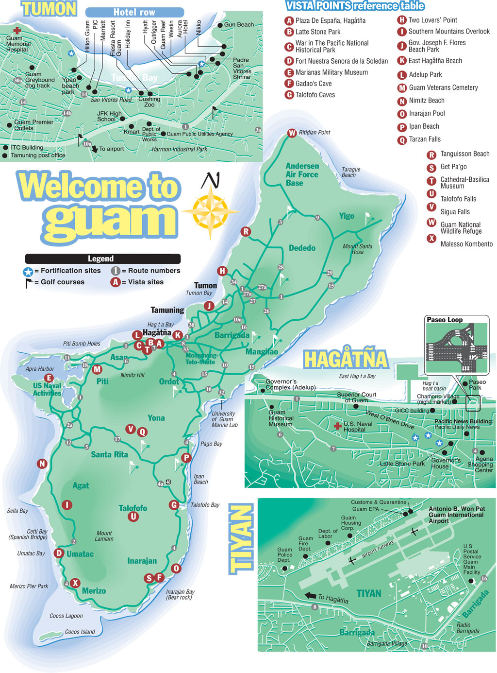 Large detailed tourist map of Guam with all roads and airports ...