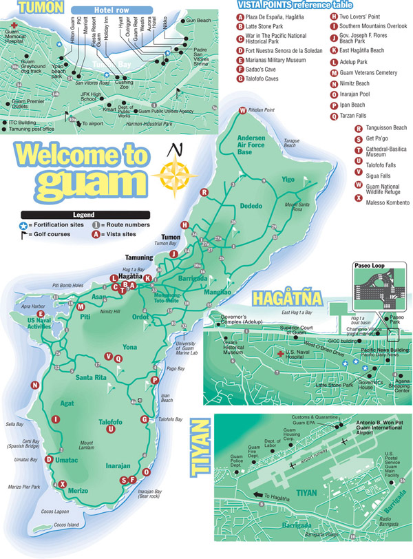 Large detailed tourist map of Guam with all roads and airports.