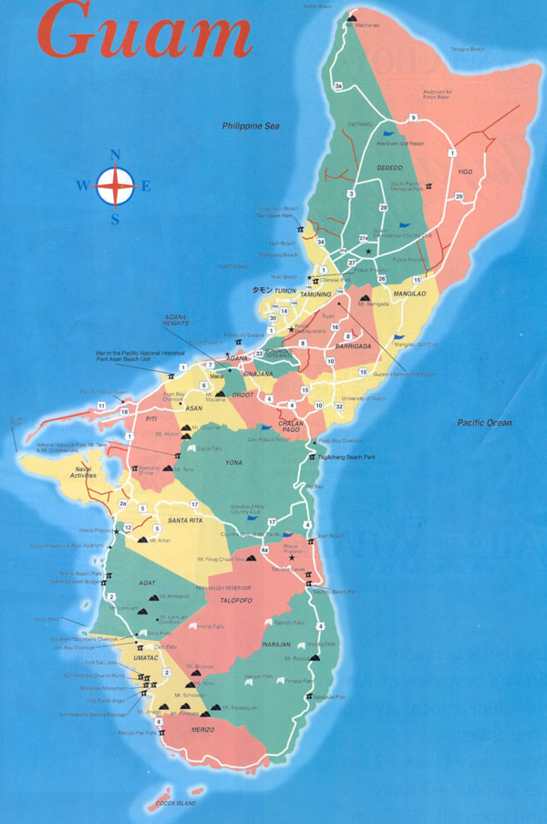 Large detailed travel map of Guam. Guam large detailed travel map.