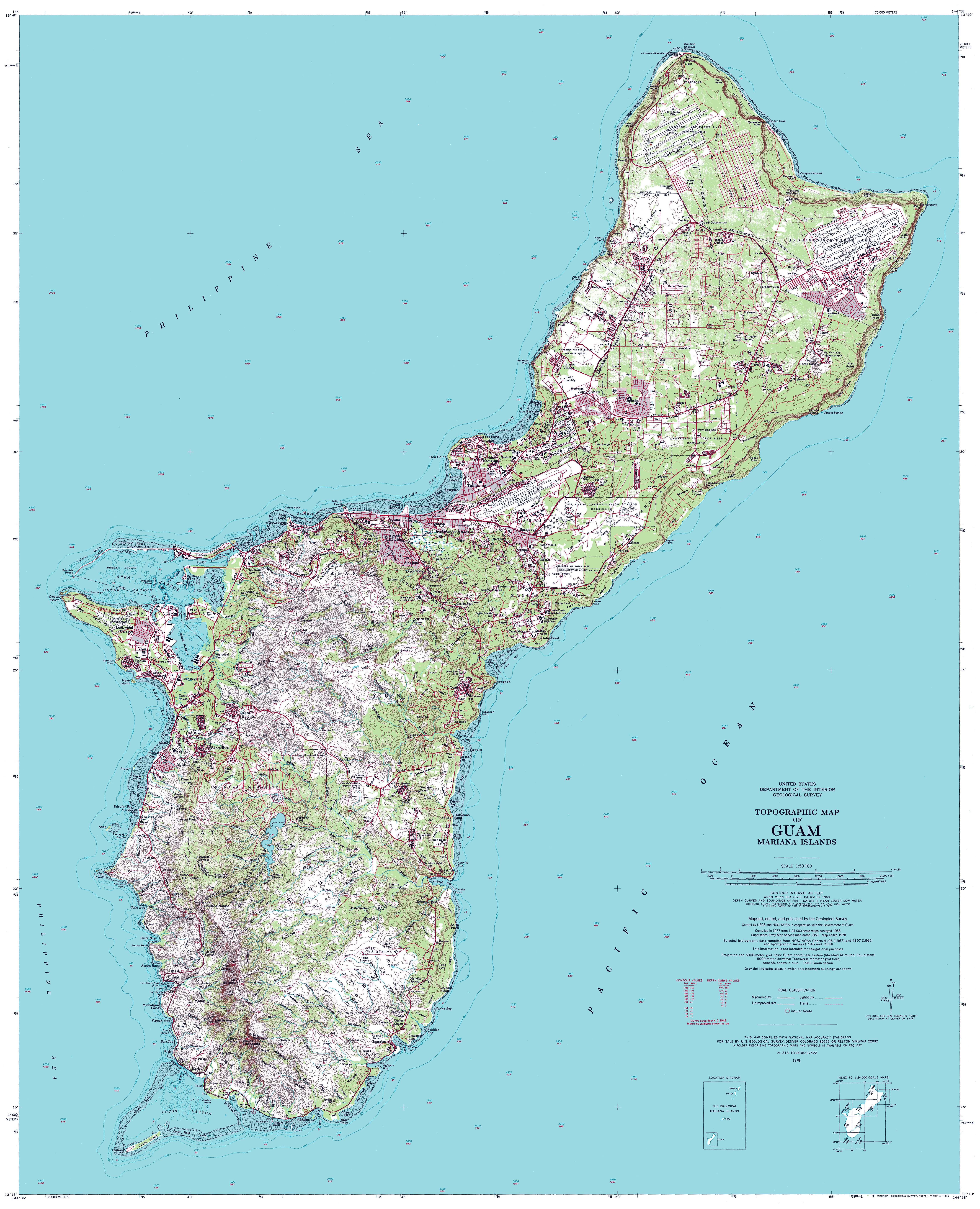 Topographical map of Guam. Guam topographical map   Vidiani.com ...