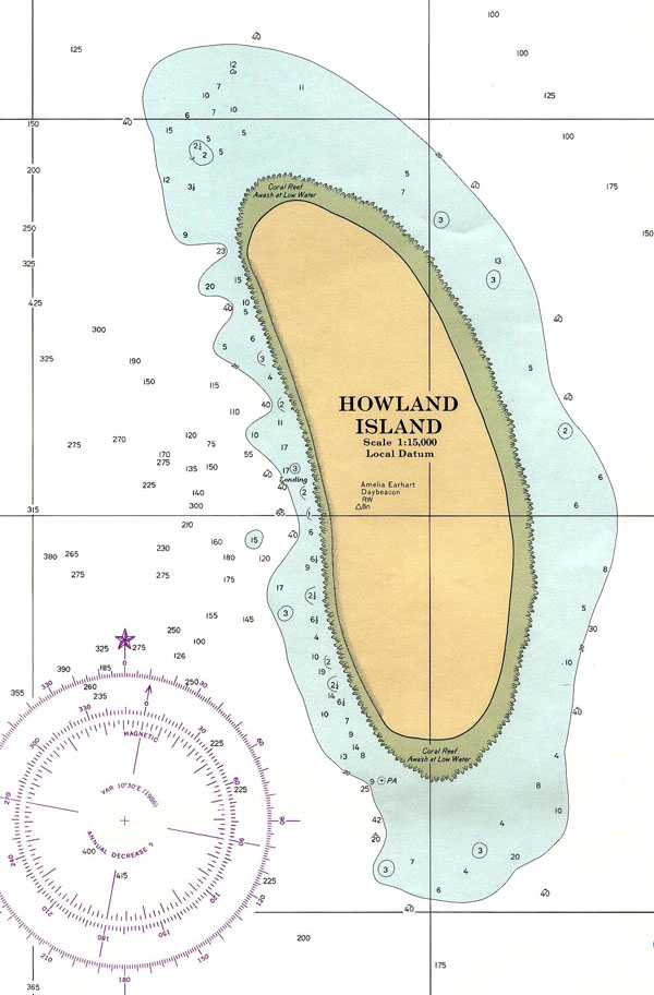 Large detailed topographical map of Howland Island. Howland Island large detailed topographical map.