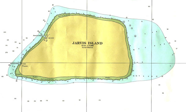Large detailed topographical map of Jarvis Island.