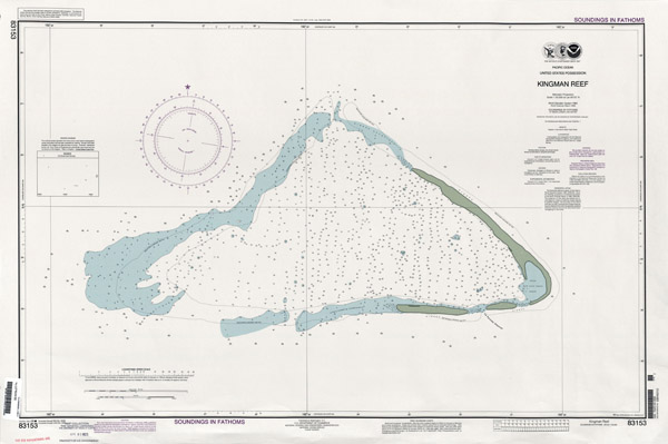 Large detailed topographical map of Kingman Reef.