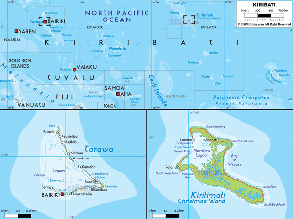 Large detailed physical map of Kiribati with all roads, cities and airports.