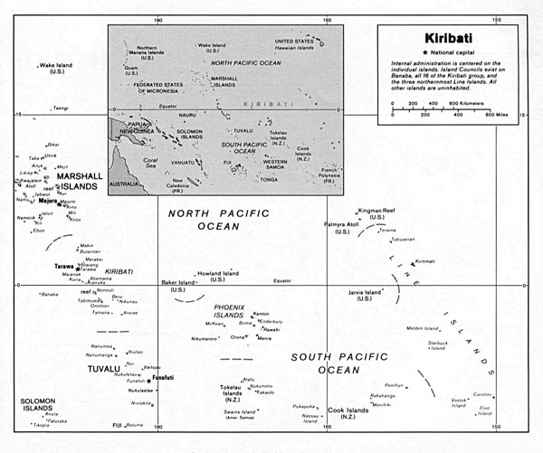 Large detailed political map of Kiribati. Kiribati large detailed political map.