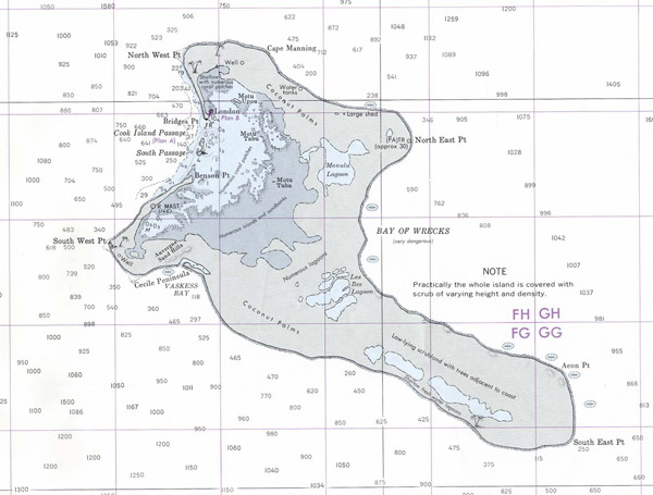 Large detailed topographical map of Kiritimati Island 1977.