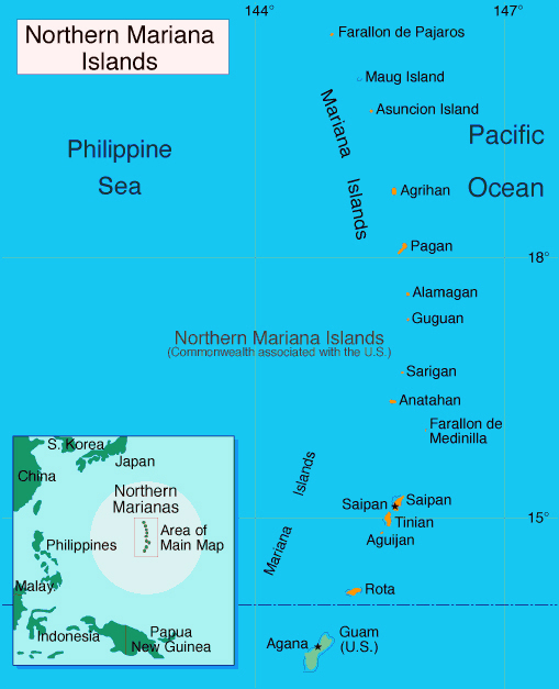 Detailed political map of Mariana Islands. Mariana Islands detailed political map.