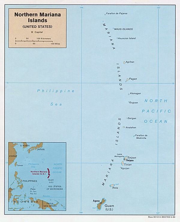 Large detailed political map of Northern Mariana Islands with roads and cities.