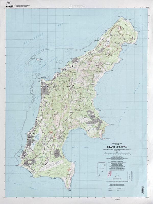 Large detailed topographical map of Saipan Island, Northern Mariana Islands.