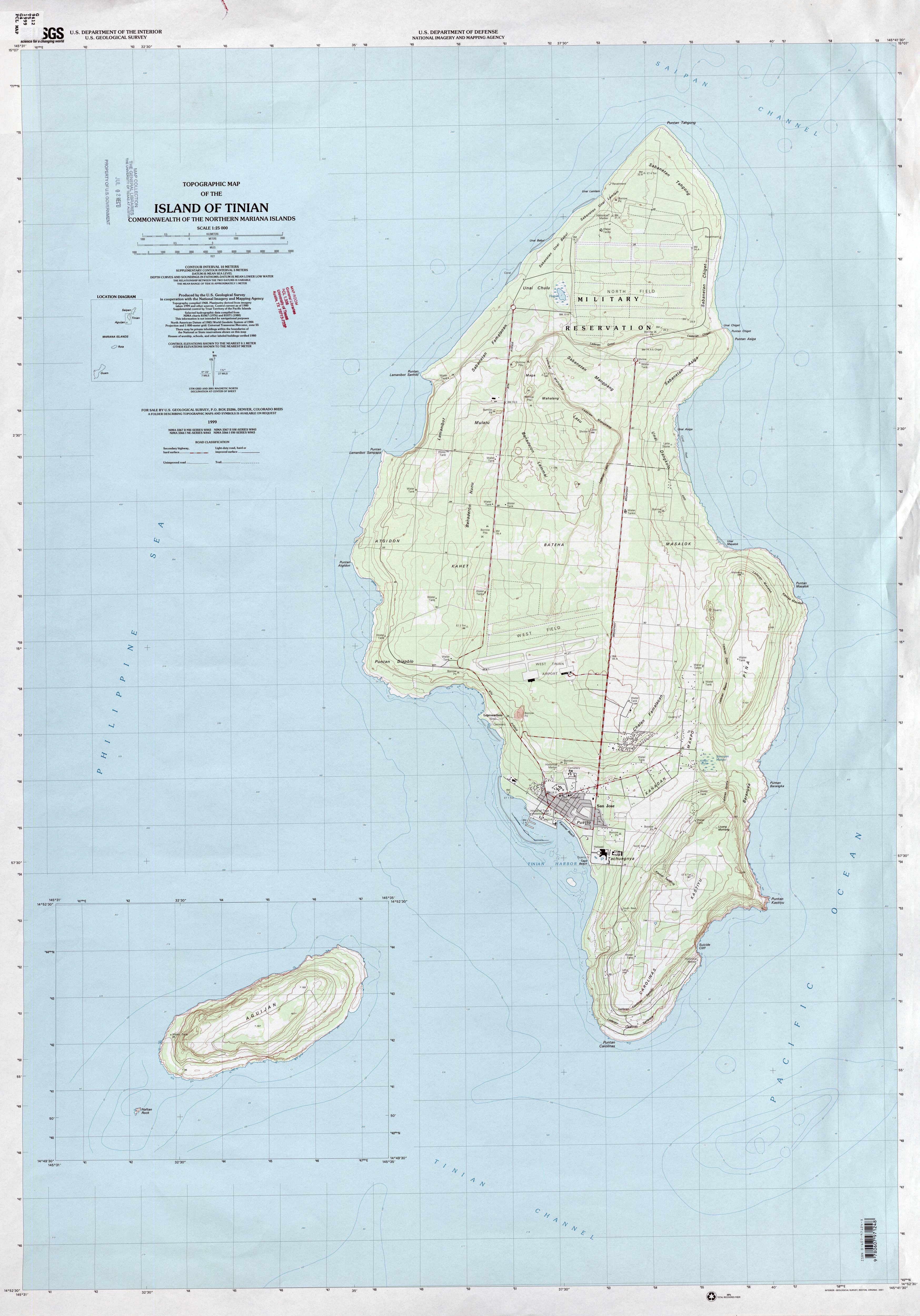 Large detailed topographical map of Tinian Island, Northern Mariana ...