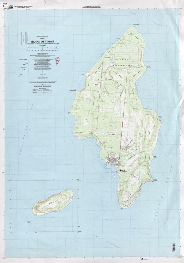 Large detailed topographical map of Tinian Island, Northern Mariana Islands.